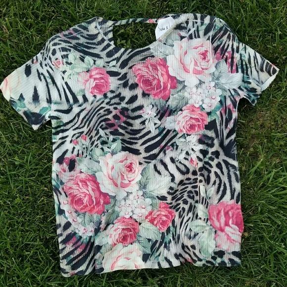 6fd0291d6c1f Sadie & Sage Tops | Sadie Love Floral Leopard Print Tee | Poshmark